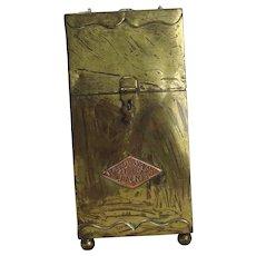 Unique Antique Decker Barbers Straight Razor Metal Safe Box 1909