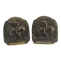 """""""End Of The Trail"""" Indian On Horseback Bronze Bookends"""