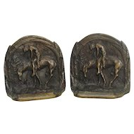 """End Of The Trail"" Indian On Horseback Bronze Bookends"