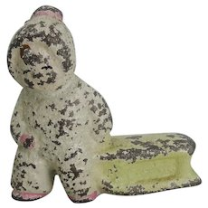 Cast Iron Snow Baby Pulling Sled Paperweight