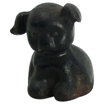 Cast Iron Black Pup Paperweight