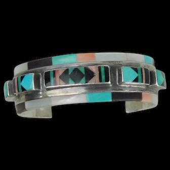 Vintage  Native American Zuni Cuff Bracelet Sterling Multi Stone Inlay Signed Panteah