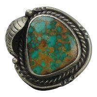Native American Sterling Silver Squash Blossom Turquoise Ring Size 7 1/2
