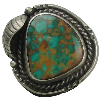 Native American Sterling Silver Squash Blossom Turquoise Ring Size 6