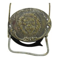 Vintage Metal Advertising Loop Magnifier With Lions Heads