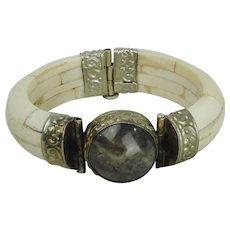 Bone Bangle Hinged Bracelet With Agate Stone
