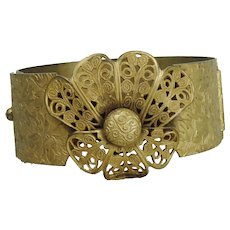 Brass Chased Filigree Hinged Bangle Bracelet