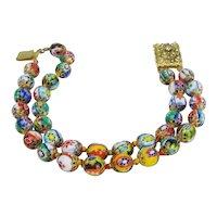 Vintage Italian Millefiori Murano Glass Bead Double Strand Bracelet