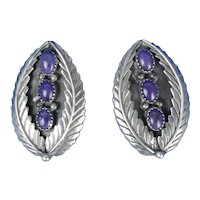Native American Charoite Sterling Silver Earrings