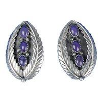 Native American Charoite Sterling Silver Earrings