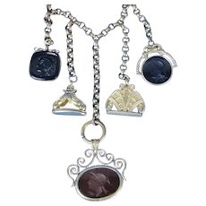 Victorian 5 Watch Fob Necklace With 3 Intaglio Fobs