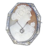 14K White Gold Filigree Cameo Pin/Pendant With Diamond Pendant