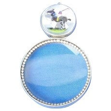 Sterling Silver Essex Chrystal Reverse Intaglio Polo Player Magnifier Loupe Pendant By Vincent Simone.