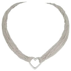Tiffany & Co Multi-Strand 925 Sterling Silver Heart Toggle Necklace