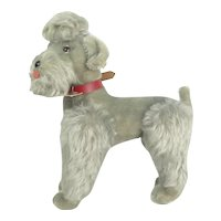 """Steiff """"Snobby"""" Articulating Gray Mohair Poodle With Tags"""