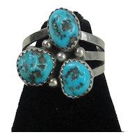 Native American Sterling Silver Ring With 3 Turquoise Stones  Size 7 3/4
