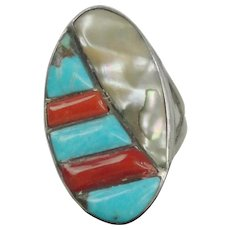 Native American Sterling Silver Ring With Turquoise Mother Of Pearl And Coral Stones Size 7 3/4