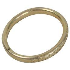Gold Filled Bangle Bracelet Floral Chased