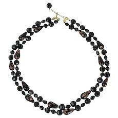 Sandor Double Strand Black And Gold Stone Glass Bead Necklace