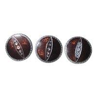 3 Sterling & Enamel Buttons
