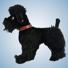 "Steiff ""Snobby"" Articulating Black Mohair Poodle With Button"