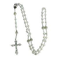 Sterling Silver And Cut Crystal Bead Rosary