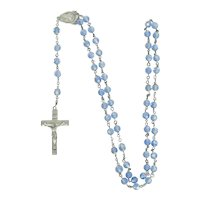 Sterling Silver And Blue cut Crystal Bead Rosary