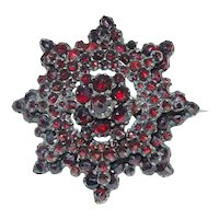 Victorian Sterling Silver Gilt Rose Cut Garnet Pin Brooch