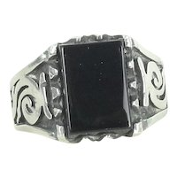 Sterling Silver And Black Onyx Ring Size 11