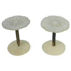 2 Antique Mother Of Pearl Thread Spools Pair