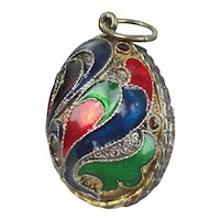 Sterling Silver & Gold Vermeil Enamel Egg Pendant Fob Charm Featuring Bird