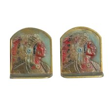 Cast Iron Indian Chief Bookends