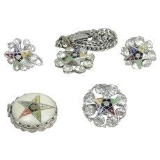 Assemblage of Masonic Eastern Star Enameled Rhinestone Jewelry & Charm
