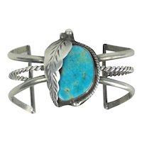 Native American Squash Blossom Sterling Silver Cuff Bracelet With Turquoise Stone Signed I.C.S