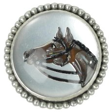 Vincent Simone Sterling Silver Vintage Essex Crystal Pin With Horses Equestrian