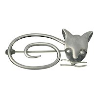 Sterling Silver Stylized Cat Pin Mexico Delfina