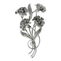 Vintage Sterling Silver Floral Pin Signed