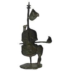 Abstract Modern Bronze Sculpture Cello Musician Player