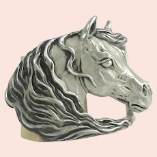 Horse Sterling Silver Buckle Signed Rogerson