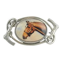 Sterling Enamel Horse Head Pin