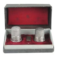 Matched Set Sterling Silver Thimbles In Original Thimble Box