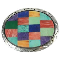 Native American Sterling Silver Zuni Inlaid Belt Buckle Signed B. Plas Jr.