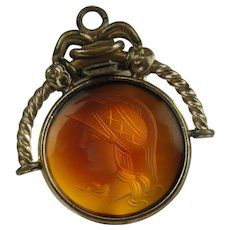 Victorian Gold Filled Carnelian Agate Intaglio Pendant Or Watch Fob Of Roman