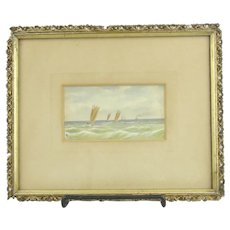Antique Signed Watercolor Sailboats And Steamboat