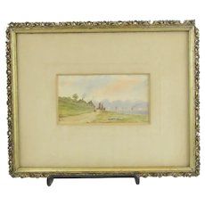 Antique Signed Watercolor Coastal Scene With Sailboats And Steamship