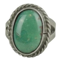 Vintage Native American Sterling Silver & Turquoise Ring Size 3 - 3 1/4
