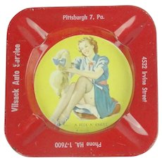 Vintage Tin Litho Ashtray Peek-a-knees Pekingese Advertising Pittsburgh