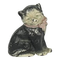 "Hubley Cast Iron Cat Kitty Paperweight 2 7/8"" Tall"