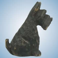 "Miniature Carved Wood Scottie Dog 1 3/8"" Tall."