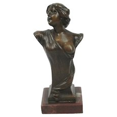 Vintage Bronze Bust Of Female Nude